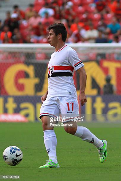 Osvaldo of Sao Paulo in action during the the Brasileirao Series A 2014 match between Sport Recife and Sao Paulo at Arena Pernambuco Stadium on...