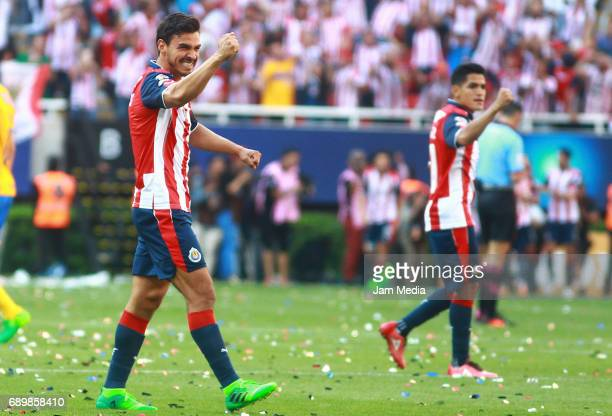 Oswaldo Alanis and Jesús Sánchez of Chivas celebrate after winning the Final second leg match between Chivas and Tigres UANL as part of the Torneo...
