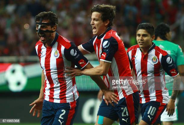 Oswaldo Alanis of Chivas celebrates after scoring the first goal of his team during the 15th round match between Chivas and Leon as part of the...
