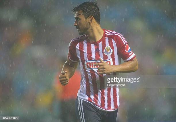 Oswaldo Alanis of Chivas looks on during a 6th round match between Leon and Chvias as part of the Apertura 2015 Liga MX at Leon Stadium on August 22...