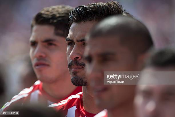Oswaldo Alanis of Chivas looks on during the 12th round match between Pumas UNAM and Chivas as part of the Apertura 2015 Liga MX at Olimpico...