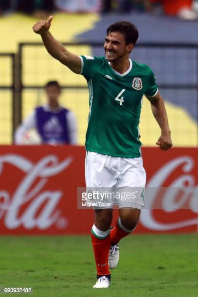 Oswaldo Alanis of Mexico celebrates after scoring his team's first goal during the match between Mexico and Honduras as part of the FIFA 2018 World...