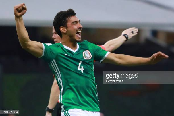 Oswaldo Alanis of Mexico celebrates after scoring the first goal of his team during the match between Mexico and Honduras as part of the FIFA 2018...