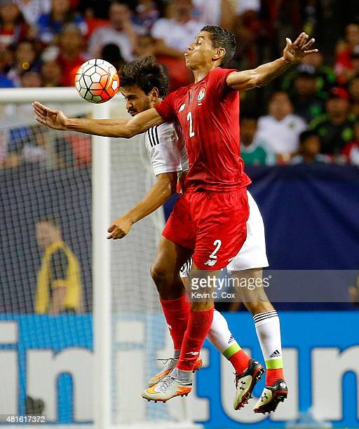 Oswaldo Alanis of Mexico challenges Valentin Pimentel of Panama during the 2015 CONCACAF Golf Cup Semifinal match between Mexico and Panama at...