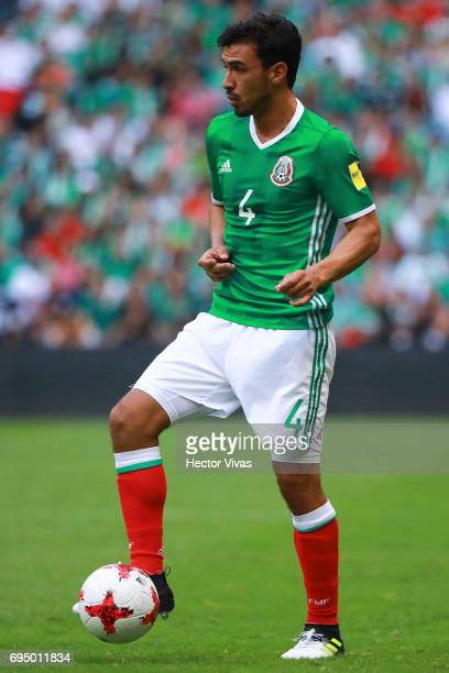 Oswaldo Alanis of Mexico drives the ball during the match between Mexico and The United States as part of the FIFA 2018 World Cup Qualifiers at...