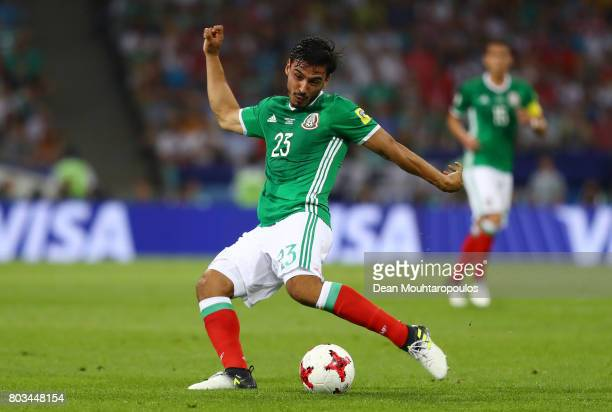 Oswaldo Alanis of Mexico in action during the FIFA Confederations Cup Russia 2017 SemiFinal between Germany and Mexico at Fisht Olympic Stadium on...