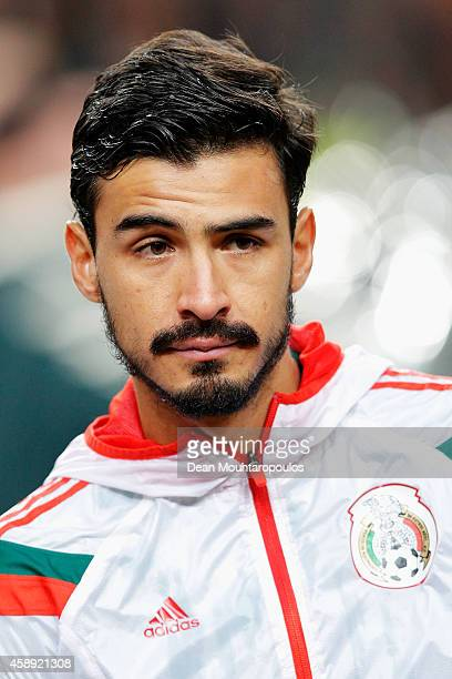 Oswaldo Alanis of Mexico stands for the national anthems prior to the international friendly match between Netherlands and Mexico held at the...