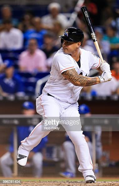 Oswaldo Arcia of the Miami Marlins at bat during the game against the Kansas City Royals at Marlins Park on August 24 2016 in Miami Florida