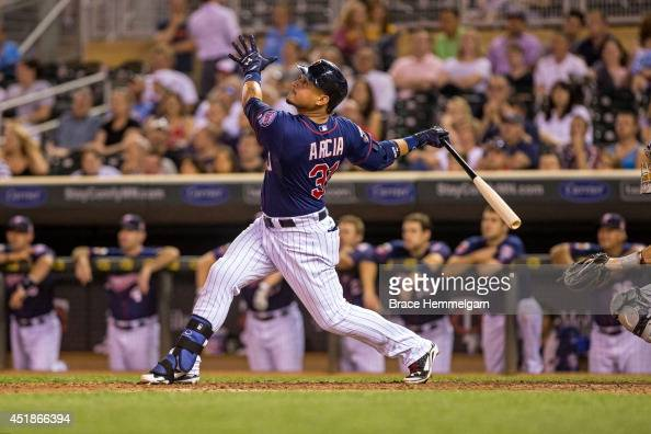Oswaldo Arcia of the Minnesota Twins bats against the Chicago White Sox on June 20 2014 at Target Field in Minneapolis Minnesota The Twins defeated...