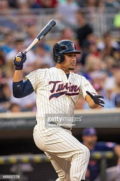 Oswaldo Arcia of the Minnesota Twins bats against the Cleveland Indians on August 20 2014 at Target Field in Minneapolis Minnesota The Indians...