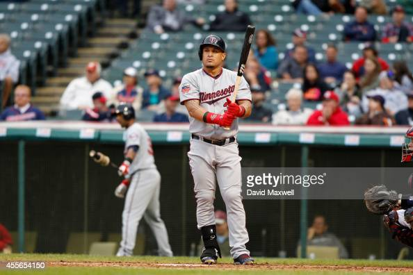 Oswaldo Arcia of the Minnesota Twins bats against the Cleveland Indians during the seventh inning of the second game a doubleheader on September 11...