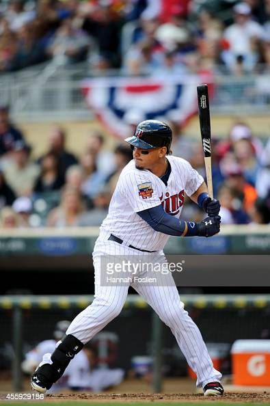 Oswaldo Arcia of the Minnesota Twins bats against the Cleveland Indians during the game on September 21 2014 at Target Field in Minneapolis Minnesota...