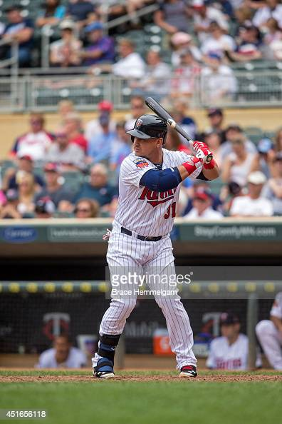 Oswaldo Arcia of the Minnesota Twins bats against the Houston Astros on June 8 2014 at Target Field in Minneapolis Minnesota The Astros defeated the...