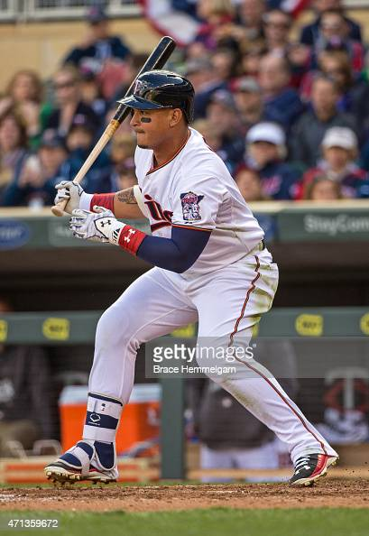 Oswaldo Arcia of the Minnesota Twins bats against the Kansas City Royals on April 13 2015 at Target Field in Minneapolis Minnesota The Royals...