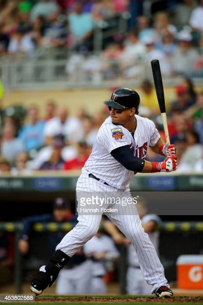 Oswaldo Arcia of the Minnesota Twins bats against the Kansas City Royals during the game on August 17 2014 at Target Field in Minneapolis Minnesota...