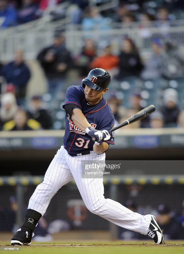 <a gi-track='captionPersonalityLinkClicked' href=/galleries/search?phrase=Oswaldo+Arcia&family=editorial&specificpeople=8948415 ng-click='$event.stopPropagation()'>Oswaldo Arcia</a> #31 of the Minnesota Twins bats against the Miami Marlins during the second game of a doubleheader on April 23, 2013 at Target Field in Minneapolis, Minnesota.