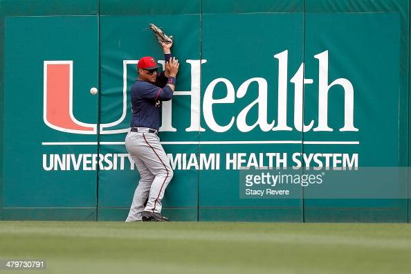 Oswaldo Arcia of the Minnesota Twins hits the right field wall trying to catch a ball during the fourth inning of a game against the St Louis...