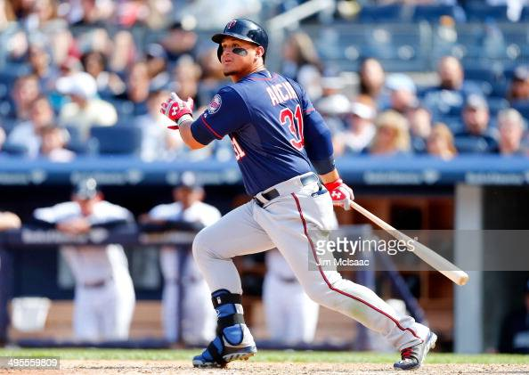 Oswaldo Arcia of the Minnesota Twins in action against the New York Yankees at Yankee Stadium on June 1 2014 in the Bronx borough of New York City...