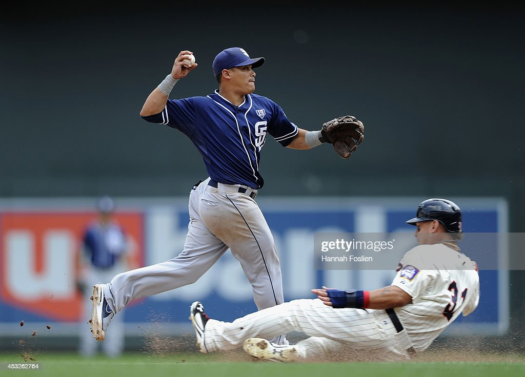 <a gi-track='captionPersonalityLinkClicked' href=/galleries/search?phrase=Oswaldo+Arcia&family=editorial&specificpeople=8948415 ng-click='$event.stopPropagation()'>Oswaldo Arcia</a> #31 of the Minnesota Twins is out at second base as <a gi-track='captionPersonalityLinkClicked' href=/galleries/search?phrase=Everth+Cabrera&family=editorial&specificpeople=5743470 ng-click='$event.stopPropagation()'>Everth Cabrera</a> #2 of the San Diego Padres turns a double play during the seventh inning of the game on August 6, 2014 at Target Field in Minneapolis, Minnesota. The Padres defeated the Twins 5-4 in ten innings.