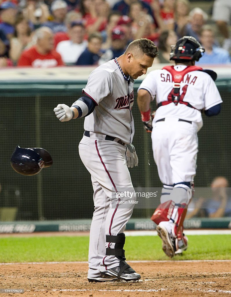 <a gi-track='captionPersonalityLinkClicked' href=/galleries/search?phrase=Oswaldo+Arcia&family=editorial&specificpeople=8948415 ng-click='$event.stopPropagation()'>Oswaldo Arcia</a> #31 of the Minnesota Twins reacts after striking out to end the top of the seventh inning against the Cleveland Indians at Progressive Field on June 22, 2013 in Cleveland, Ohio.