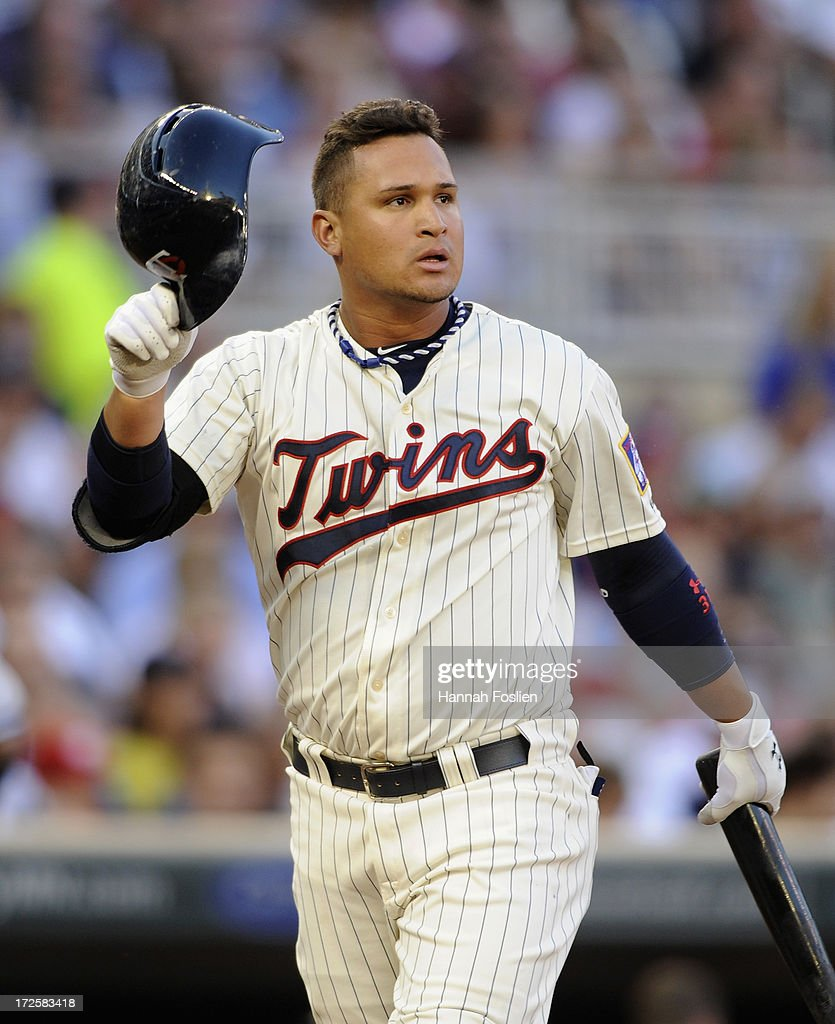 Oswaldo Arcia #31 of the Minnesota Twins reacts to striking out against the New York Yankees during the third inning of the game on July 3, 2013 at Target Field in Minneapolis, Minnesota. The Yankees defeated the Twins 3-2.