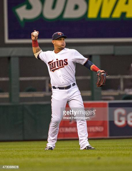 Oswaldo Arcia of the Minnesota Twins throws against the Detroit Tigers on April 28 2015 at Target Field in Minneapolis Minnesota The Twins defeated...