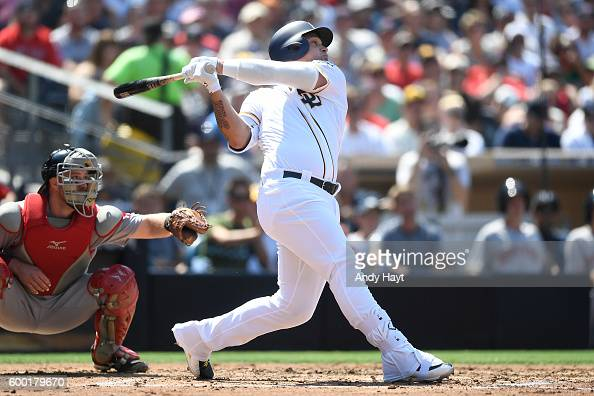 Oswaldo Arcia of the San Diego Padres hits during the game against the Boston Red Sox at PETCO Park on September 5 2016 in San Diego California