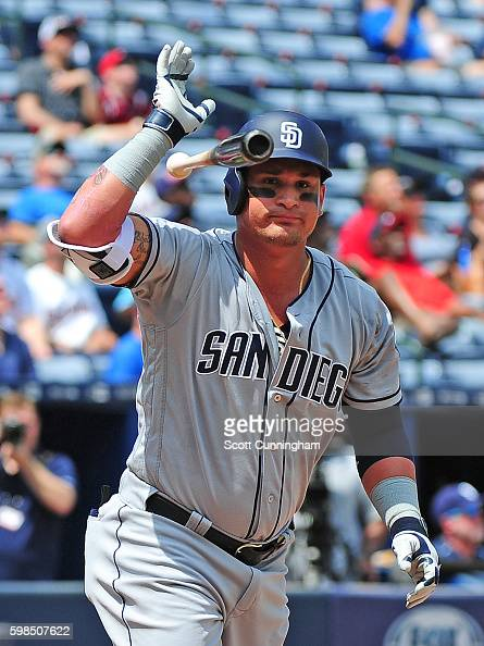Oswaldo Arcia of the San Diego Padres reacts after making a fifth inning out against the Atlanta Braves at Turner Field on September 1 2016 in...