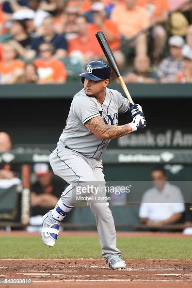 Oswaldo Arcia of the Tampa Bay Rays prepares for a pitch during game two of a doubleheader baseball game against the Baltimore Orioles at Oriole Park...