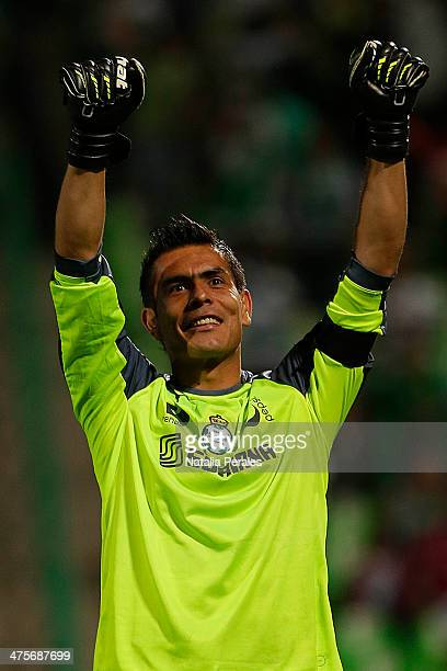 Oswaldo Sanchez of Santos celebrates after first goal scored by his team during a match between Santos Laguna and Atlas as part of the Clausura 2014...
