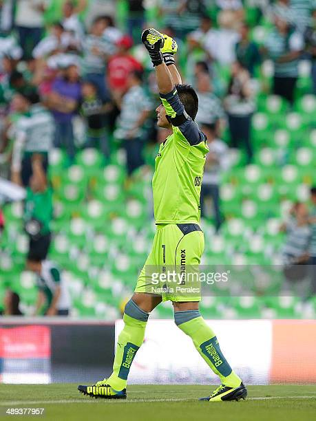 Oswaldo Sanchez of Santos celebrates the opening goal of the game during the Semifinal second leg match between Santos Laguna and Pachuca as part of...