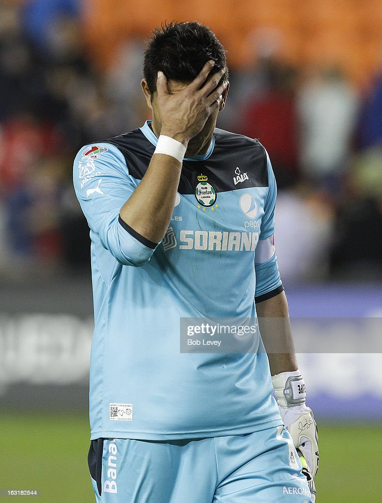 Oswaldo Sanchez #1 of Santos Laguna leaves the field after losing to the Houston Dynamo 1-0 at BBVA Compass Stadium on March 5, 2013 in Houston, Texas.