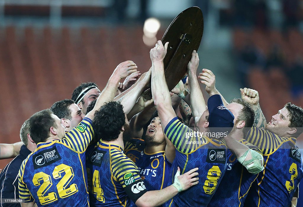 Otago celebrate with the Ranfurly Shield after winning the round two ITM Cup Ranfurly Shield match between Waikato and Otago at Waikato Stadium on...