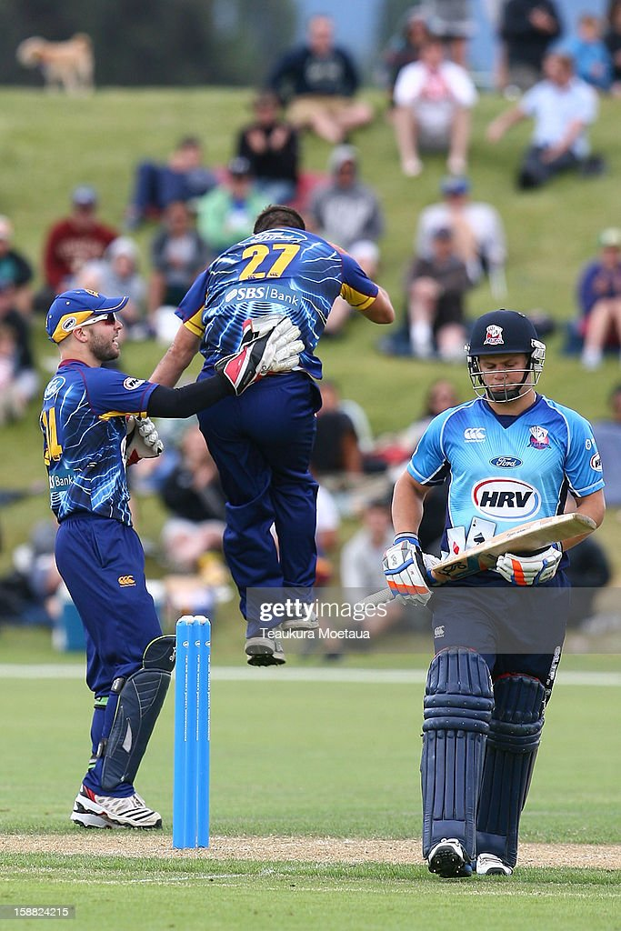 Otago celebrates during the Twenty20 match between Otago and Auckland at Queenstown Events Centre on December 31, 2012 in Queenstown, New Zealand.