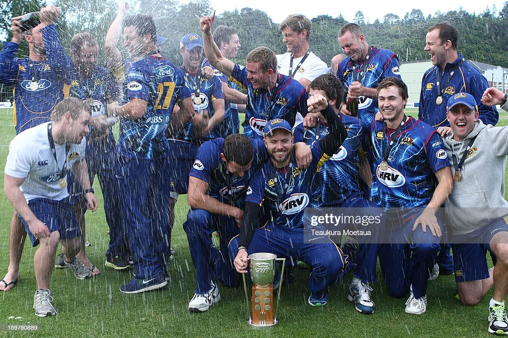 Otago celebrates winning the HRV T20 Final match between the Otago Volts and the Wellington Firebirds at University Oval on January 20, 2013 in Dunedin, New Zealand.