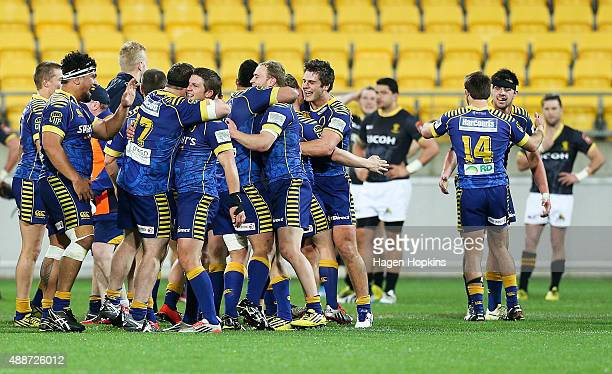 Otago players celebrate the win during the round six ITM Cup match between Wellington and Otago at Westpac Stadium on September 17 2015 in Wellington...