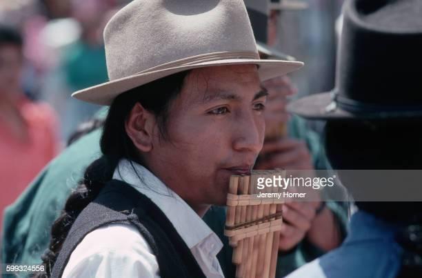 Otavalan Man Plays Panpipes