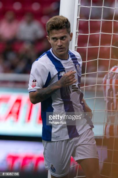 Otavio Monteiro of Porto celebrates after scoring the second goal of his team during a the friendly match between Chivas and Porto at Chivas Stadium...