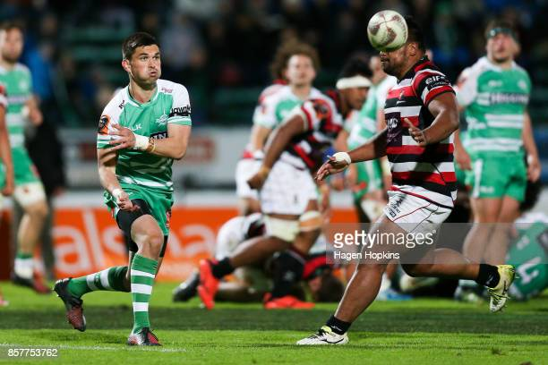 Otere Black of Manawatu passes during the round eight Mitre 10 Cup match between Manawatu and Counties Manukau at Central Energy Trust Arena on...