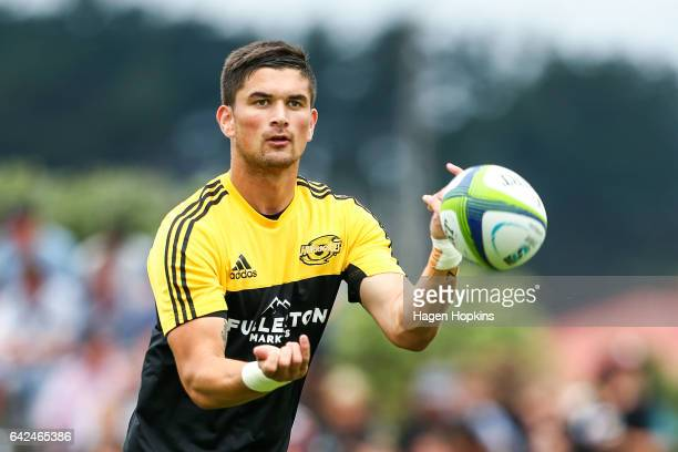 Otere Black of the Hurricanes warms up during the Super Rugby preseason match between the Hurricanes and the Crusaders at Border Rugby Club on...