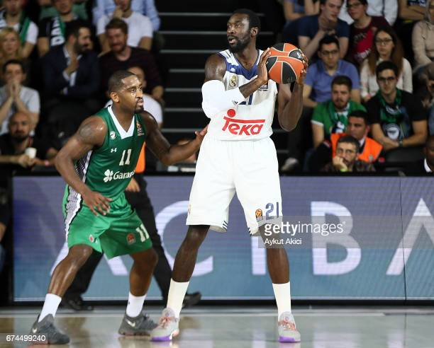 Othello Hunter #21 of Real Madrid in action during the 2016/2017 Turkish Airlines EuroLeague Playoffs leg 4 game between Darussafaka Dogus Istanbul v...