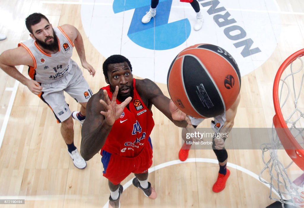 Othello Hunter, #44 of CSKA Moscow in action during the 2017/2018 Turkish Airlines EuroLeague Regular Season Round 6 game between CSKA Moscow and Valencia Basket at Megasport Arena on November 9, 2017 in Moscow, Russia.