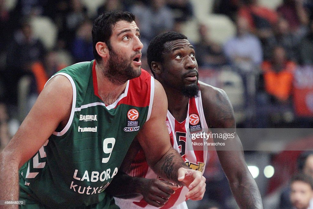 Othello Hunter #5 of Olympiacos Piraeus competes with Ioannis Bourousis #9 of Laboral Kutxa Vitoria Gasteiz during the Turkish Airlines Euroleague...