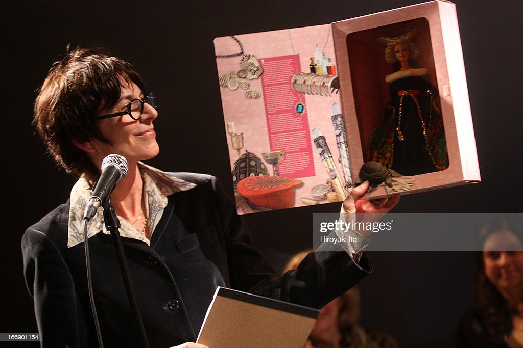 Queer Scholarship Into Song' at Dixon Place on Thursday night, April 4, 2013.This image:Carolyn Dinshaw, the author of 'How Soon is Now' with the medieval Barbie Doll.