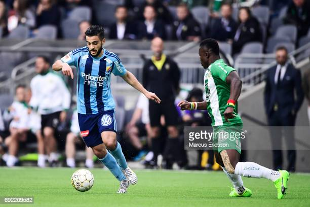 Othman El Kabir of Djurgardens IF and Joseph Aidoo competes for the ball during the Allsvenskan match between Hammarby IF and Djurgardens IF at Tele2...