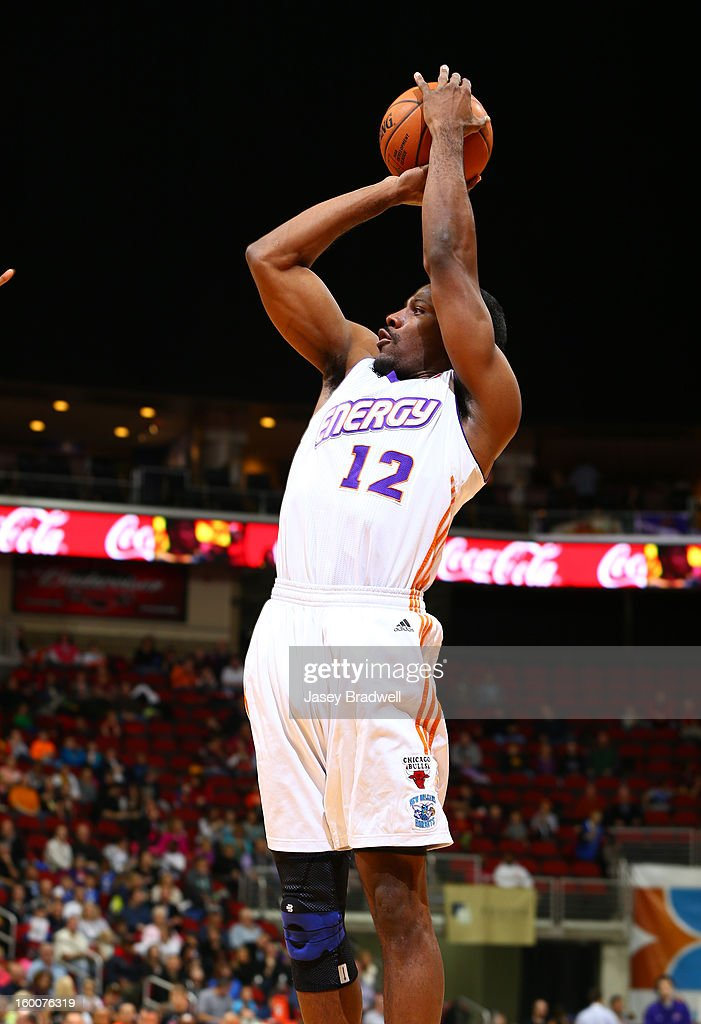 Othyus Jeffers #12 of the Iowa Energy fires off a jump shot against the Canton Charge in an NBA D-League game on January 25, 2013 at the Wells Fargo Arena in Des Moines, Iowa.