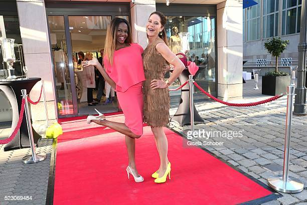 Otile Mabuse wearing a dress by MADELEINE and Doreen Dietelwearing a dress by MADELEINE during the 'MADELEINE Store Opening in Nuernberg' on April 21...