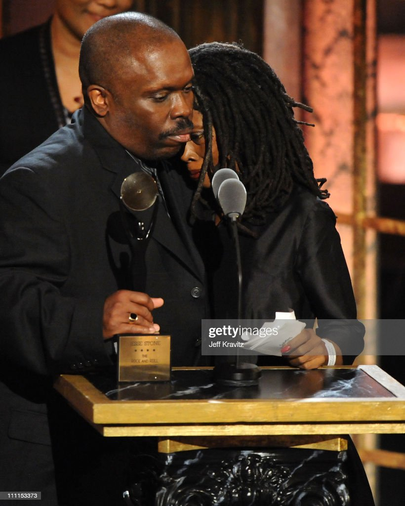 Otis Blackwell Jr. and Odette Blackwell accepting for inductee Otis Blackwell at the 25th Annual Rock and Roll Hall of Fame Induction Ceremony at the Waldorf=Astoria on March 15, 2010 in New York City.
