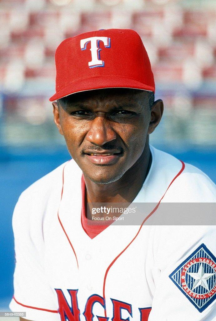 Otis Nixon of the Texas Rangers poses for this portrait during Major League Baseball spring training circa 1995 at Municipal Stadium in Port...