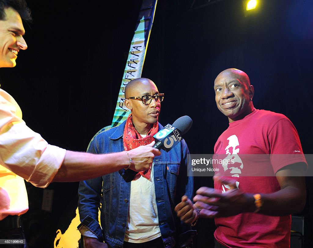 Otis Redding III and Raphael Saadiq take an interview during special art guitar tribute to Grammy Lifetime Achievement Award recipient and Rock and Roll Hall of Famer Otis Redding at The Whiskey A Go Go on July 15, 2014 in West Hollywood, California.